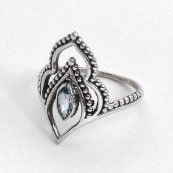 Blue Topaz Ring Boho Ring Birthstone Jewellery Solid 925 Sterling Silver Oxidized Silver Jewellery