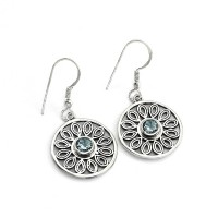 Well Looking Blue Topaz Round Shape 925 Sterling Silver Earring Jewelry Gift For Her