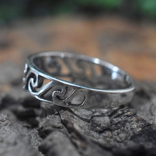 Boho Ring Handmade Oxidized Silver Jewelry 925 Sterling Silver Band Ring Gift For Her