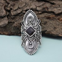 Natural Smoky Quartz Square Shape 925 Sterling Silver Ring