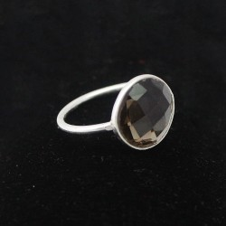 Bezel Setting Smoky Quartz Gemstone 925 Sterling Silver Ring