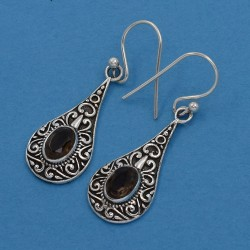 Brown Smoky Quartz Drop Earring Oxidized Jewelry 925 Sterling Silver Women And Girls Earring Jewelry Gift For Her