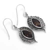 Brown Smoky Quartz Drop Earrings Oxidized Jewelry Handmade 925 Sterling Silver Jewelry