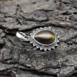 Natural Brown Tiger Eye 925 Sterling Solid Silver Pendant Jewelry