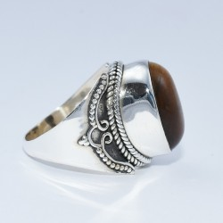 Brown Tiger Eye Handmade 925 Sterling Silver Ring Wholesale Jewelry For Her