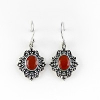 Natural Carnelian 925 Sterling Silver Dangle Earring Jewelry