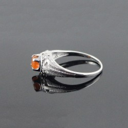 Carnelian Rhodium Plated 925 Sterling Silver Ring