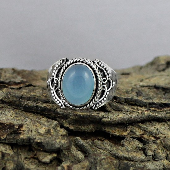 Chalcedony Oval Shape 925 Sterling Silver Ring Jewelry