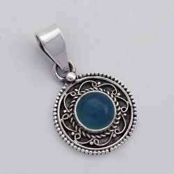 Chalcedony Pendant 925 Sterling Silver Indian Artisan Design Handmade Oxidized Jewelry