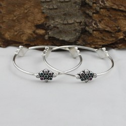 Unique Jewelry Multi CZ Gemstone Round Shape Bangle 925 Sterling Silver Jewely