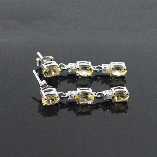 Citrine 925 Sterling Silver Rhodium Plated Earring Jewelry