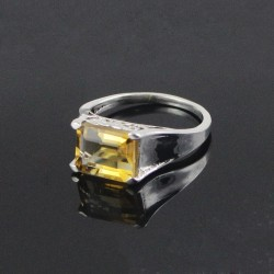 Charming !! Citrine 925 Sterling Silver Rhodium Plated Ring Jewelry
