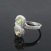 Citrine Peridot 925 Sterling Silver Rhodium Plated Ring Jewelry