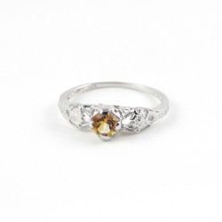 Amazing !!Citrine Rhodium Plated 925 Sterling Silver Ring Party Wear Jewelry