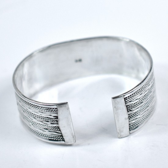 Concave Silver Cuff Bangle Handmade 925 Sterling Plain Silver Cuff Bangle Jewellery Gift For Her
