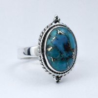 Copper Turquoise Ring Handmade 925 Sterling Silver Wholesale Jewellery Oxidized Silver Jewellery Exporter