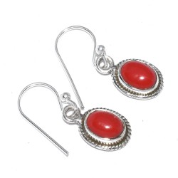 Coral Drops Earring Handmade 925 Sterling Silver Earring Jewelry Oval Faceted Stone Earring Jewelry