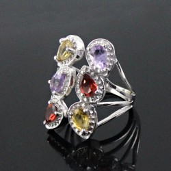 Delightful Multi Stone 925 Sterling Silver Rhodium Plated Ring Jewelry For Her