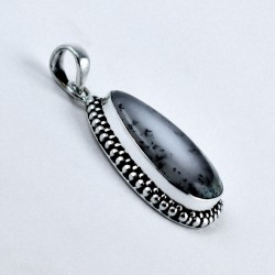 Dendritic Opal Pendant Handmade 925 Sterling Silver Pear Faceted Gemstone Jewellery Gift For Her