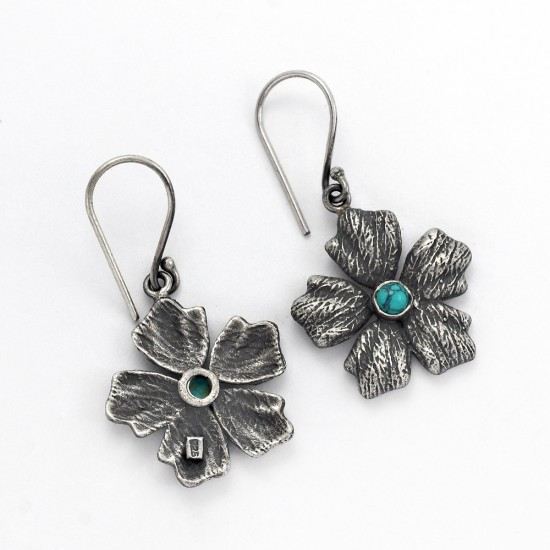 Drop Dangle Earring Turquoise 925 Sterling Silver Oxidized Jewelry Gift For Her