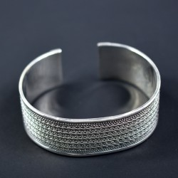 Edged Silver Cuff Bangle Handmade 925 Sterling Silver Hammered Silver Bangle Jewelry Gift For Her