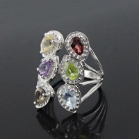 Elegant Multi Color Stone 925 Sterling Silver Rhodium Plated Ring