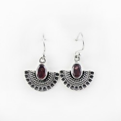 Unique Design !! Garnet 925 Sterling Silver Earring