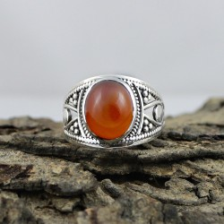 Beautiful !! Red Onyx Stone 925 Sterling Silver Ring