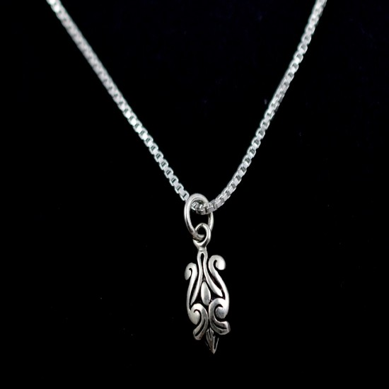 Engraved Setting 925 Sterling Plain Silver Pendant Jewelry Oxidized Silver Jewelry