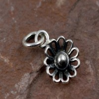 Fine Work Pendant Oxidized Silver Jewelry Flower Shape 925 Sterling Plain Silver Jewellery