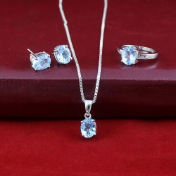 Faceted Blue Topaz Gemstone Jewelry Set 925 Sterling Silver Rhodium Polished Set Jewelry