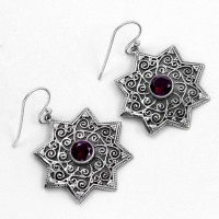 Faceted Red Garnet Drops Earring Oxidized Jewellery Solid 925 Sterling Silver 925  Stamped Jewellery