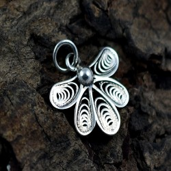 Filigree Setting 925 Sterling Plain Silver Pendant Castor Charms Pendant Jewelry Artisan Jewelry