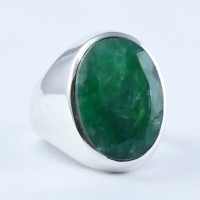 Fine Bezel Setting Dyed Emerald Ring 925 Sterling Silver Engagement Ring Promises Ring Women Fashion Jewelry