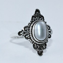 Freshwater Pearl 925 Sterling Silver Oxidized Ring Jewelry Engagement Ring Gift For Her
