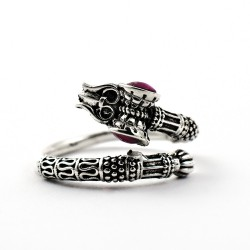 Garnet 925 Sterling Silver Indian Religious Ring Jewelry Daily Wear Jewelry