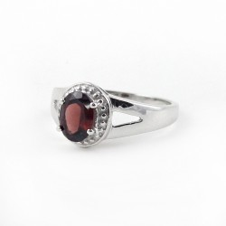 Awesome Ring !! Garnet 925 Sterling Silver Rhodium Plated Ring Jewelry