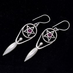 Garnet Glass Earring Oxidized Silver Earring Handmade 925 Sterling Silver Drop Earring Silver Jewelry