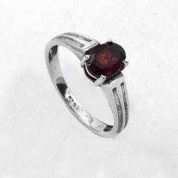 Garnet Ring Prong Setting Ring Solid 925 Sterling Silver Oxidized Silver Ring Jewelry For Her