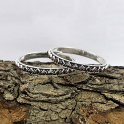 Garnet CZ 925 Sterling Silver Handmade Bangle