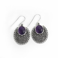 Genuine Amethyst 925 Sterling Silver Dangle Earring Birthstone Jewelry Gift For Her