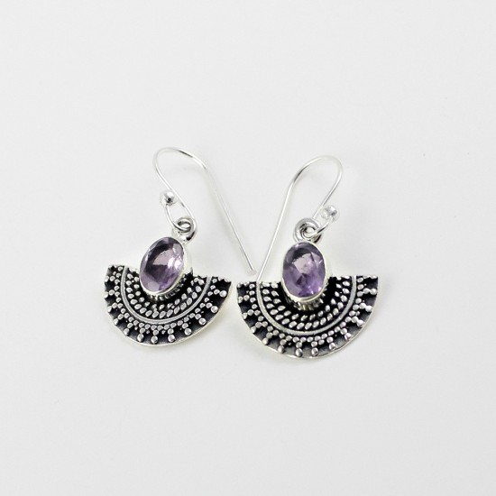 A Perfect Way !! Amethyst 925 Sterling Silver Earring