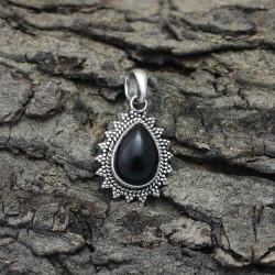 Genuine Black Onyx 925 Sterling Silver Pendant Jewelry Gift For Her