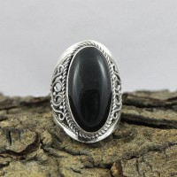 Natural Black Onyx 925 Sterling Silver Ring
