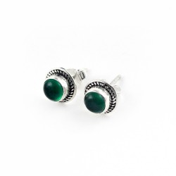 Genuine Green Onyx 925 Sterling Silver Stud Earring Jewelry Gift For Her