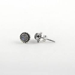 Genuine Labradorite 925 Sterling Silver Stud Earring Jewelry Gift For Her