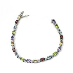 Genuine Multi Gemstone 925 Sterling Silver Bracelet Jewelry Gift For Her
