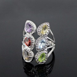 Genuine Multi Stone 925 Silver Rhodium Plated Ring Jewelry Gift For Her