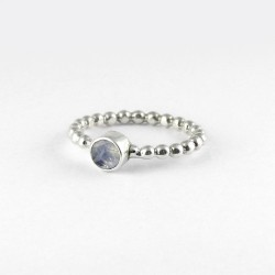 Genuine Rainbow Moonstone 925 Sterling Silver Band Ring 925 Stamped Silver Jewellery