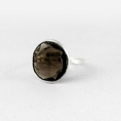 Genuine Smoky Quartz 925 Sterling Silver Solitaire Ring Handcrafted Silver Jewelry